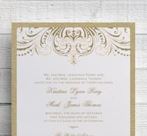 wedding photo - Blush Pink and Gold Wedding Invitation, Foil Stamped Wedding Invitation, Vintage Gold, Printed Gold, Invitation Suite, SAMPLE