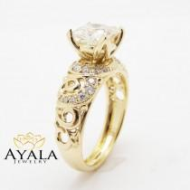 wedding photo - Unique Princess Cut Engagement Ring  14K Yellow Gold Princess Cut Moissanite Ring Art Deco Engagement Ring
