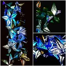 wedding photo - Custom Paper Star Lanterns, Lit With Cordless Battery Powered LED Lights, Hang Anywhere, Star Lights, Variety of Colors & Options; Wedding