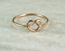 wedding photo - Promise Ring / Rose Gold Heart Ring / Love Knot / Infinity Ring / Sweetheart Ring / Wedding Ring
