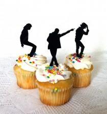wedding photo - Michael Jackson Cupcake Toppers Set of 3 Michael Jackson Cake Topper Michael Jackson Fan Michael Jackson Dancing Pose Wedding Cake Topper