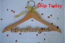wedding photo - Personalized Wedding Dress Hanger, Custom Bridal Hanger, Mrs Name Hanger,Bride Wire Name Hanger, Bridesmaid Mother of the Bride Hanger Gift