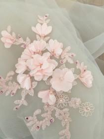 wedding photo - 3D pearl beaded lace applique, wedding gown bodice, bridal veil train