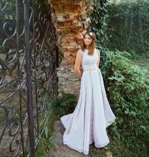 wedding photo - Lace Wedding Dress with delicate belt /  Long Lace Wedding dress A silhouette / Romantic Wedding Gown