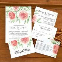wedding photo - Watercolor Floral Wedding Suite - Digital Wedding Invitation - Custom Wedding Invitation - AV4396