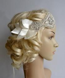 wedding photo - Bridal 1920s Bandeau petal headband, The Great Gatsby Headband, 1920s Headpiece, Flapper 1920's,Ivory petal rhinestone crystal headband,