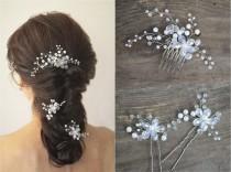 wedding photo - Long hair vine, Bridal hair pins, Floral Hair Comb, Pearl Hairpiece, Wedding headpiece, Bridal Hair Accessory, Bridal Hair Comb, Hair pins