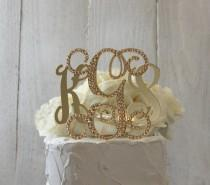 wedding photo - Gold 3 Initial Monogram Wedding Cake Topper, GOLD Swarovski Crystals, Gold bling Letters A B C D E F G H I J K L M N O P Q R S T U V W X Y Z