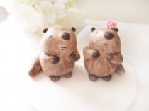 wedding photo - Custom Wedding Cake Toppers - Cute Beaver