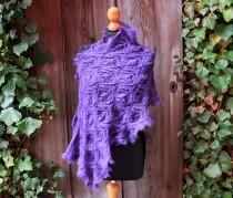 wedding photo - handknitted purple wedding stole,fine lace shawl,violet,bridal wrap,silk kidmohair, romantic victorian style,edwardian