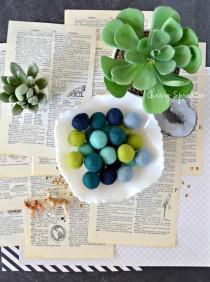 wedding photo - 50 Felt Balls -Blue and green Felt Ball Garland -Green Pom Poms - Felt Bead garland - Banner, Bunting, Garland - Mantel Decor - 2 cm Poms