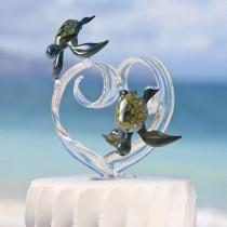 wedding photo - Custom Glass Heart Wedding Cake Topper with Two Turtles