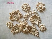 wedding photo - Crochet Applique Ivory Flowers Irish Lace Decoration of Clothes Handwork Home Decor Embellishment - $15.55 USD