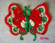 wedding photo - Butterfly Lace Irish Crochet Art Moth Appliqué Embellishment Сlothes Decoration Knitted Trim Textile - $18.00 USD