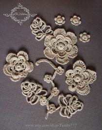 wedding photo - Decorative Floral Crochet Trim Applique Irish Lace Decoration Clothes Handwork Embellishment Home Decor Ivory Supplies - $25.55 USD