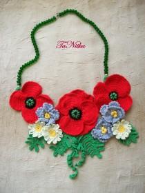 wedding photo - Necklace with Poppies Crocheted Beads Red Flowers Neck Textile Jewelry Women's - $45.00 USD