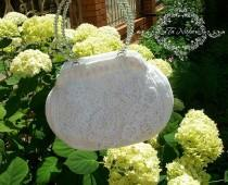 wedding photo - Bag Guipure Irish Lace with Swarovski Crystals Wedding Luxury Handbag Romantic Style White Crochet Summer Bag Free Shipping - $115.00 USD