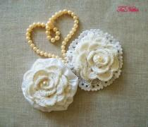 wedding photo - Shabby Chic Flowers 2 pcs Textile Brooch Crochet Lace Handmade Vintage Flowers Сlothing Decoration Home Decor - $12.00 USD