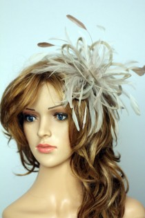 wedding photo - Taupe Nude and Cream Feather Fascinator Hat - wedding, ladies day - choose any colour feathers and satin