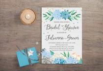 wedding photo - Succulent Bridal Shower Invitation Printable, Boho Bridal Shower Invitation, Mint Blue Floral Bridal Shower Invitation, Hydrangea Invitation