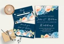 wedding photo - Navy Wedding Invitation Floral Wedding Invitation Suite, Boho Printable Wedding Invitation, Coral Peach Blue Wedding Invitation Hydrangea