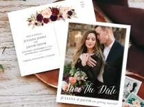wedding photo - Marsala Blush Save Our Date for Elegant Barn Wedding
