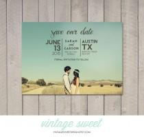 wedding photo - Save the Date Card / Magnet (Printable) by Vintage Sweet