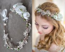 wedding photo - Wedding Crown with baby breath, Boho Chic, Tiara, Bridal flowers, Fairy Crown,Floral - Festival or Bridal Hair Wreath, Hair Flowers