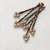 wedding photo - Gold Pearl bobby pins Swarovski (wedding hair pins - set of 6) wedding hair accessory