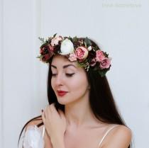 wedding photo - Rose peony flower crown Wedding hair wreath Bridal floral crown Pink white burgundy flower crown Boho wedding Flower headband