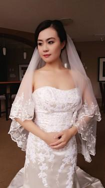 wedding photo - Bridal Wedding Veil 2 Tier Layers Blusher White/Light Ivory Hip Length Lace Edge With Comb Ready To Ship
