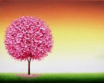 wedding photo - Contemporary Cherry Blossom Tree Art Print, Pink Tree Print, Housewarming Gift Idea, Modern Minimalist Living Room Decor, Gold Pink Spring