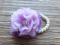 wedding photo - Wrist Corsage, Purple and Lavender Chiffon Corsage, bridesmaid Corsage