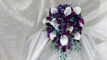 wedding photo - Galaxy orchid bridal bouquet, purple blue island orchid bouquet, white real touch calla lilies, turquoise