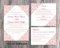 wedding photo - Wedding Invitation Template Download Printable Wedding Invitation Editable Red Invitations Elegant Floral Invitation Flower Invites DIY - $15.90 USD