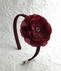 wedding photo - Burgundy Flower Headband, Flower Girl Headband, Girls Thanksgiving Headband, Burgundy Wine Rhinestone Flower on Hard Headband Toddlers Girls