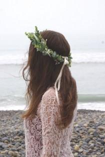 wedding photo - Greenery crown, bridal flower crown, tie-back woodland greenery halo, bohemian wedding greenery headpiece