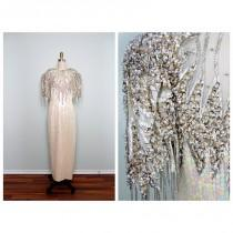 wedding photo - Heavily Beaded Sequined Gown / Iridescent Ivory Embellished Dress / Silver Fringe Beaded Wedding Gown L XL - Cheap Beautiful Dresses