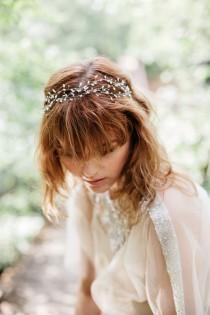 wedding photo - Bridal Pearl Headband, Wedding Hair Vine, Pearl Headband , Bridal Headpiece , Bohemian Bridal Hair Accessories , Natural Pearl Headband