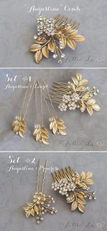 wedding photo - Gold Leaf Laurel Hair comb, Boho Bridal hair comb, Vintage Bridal Crystal haircomb, Bohemian Wedding Gold Hair accessory - 'AUGUSTINA'
