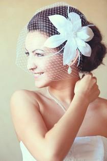 wedding photo - Birdcage Veil Wedding Hairstyles Wedding Fascinator Bridal hair  Bridal Headpiece Hair updos White fascinator Bridal Hairstyles