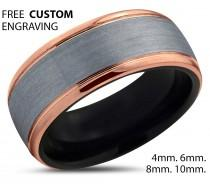 wedding photo - Brushed Silver Black Tungsten Ring Rose Gold Wedding Band Ring Tungsten Carbide 10mm 18K Tungsten Ring Man Male Women Anniversary Matching