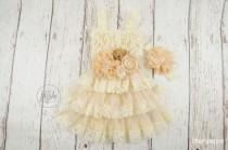 wedding photo - champagne flower girl dress, ivory flower girl dress, taupe flower girl dress, baby lace dress, girls lace dress, rustic chic flower girl