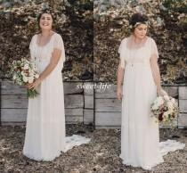 wedding photo - 2015 Ivory Bohemian Wedding Dresses Plus Size Maternity Lace Short Sleeves Cheap Scoop Open Back Country Spring Wedding Bridal Wedding Gowns
