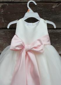 wedding photo - Ivory Flower Girl dress bow sash pageant pastel pink wedding bridal children bridesmaid toddler elegant