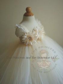 wedding photo - Ivory and champagne tutu dress, ivory and champagne flower girl dress. www.theprincessandthebou.etsy.com