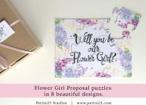 wedding photo - Will You Be my Flower Girl, puzzle, bridal party proposal, our flower girl card, flower girl invitation, watercolor flowers, purple lilac,