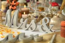 wedding photo - GLITTER Mrs & Mr  sweetheart table decoration. Wedding sign set. Sweetheart table decor wooden signs.