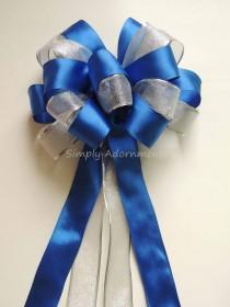 wedding photo - Royal Blue Silver Party Royal Blue Silver Wedding Aisle Church Pew Bow Royal Blue Silver Birthday Party Decoration Bow Gift Bows