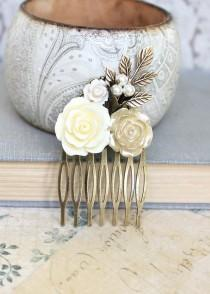 wedding photo - Romantic Floral Bridal Hair Comb Ivory Cream Rose Gold Wedding Hair Piece Flower Collage Pearl Comb Branch Leaves Womens gift Vintage Style